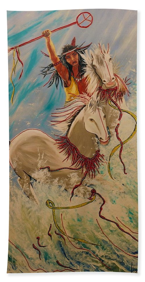 Horses Beach Towel featuring the painting Scream Of Peace by V Boge