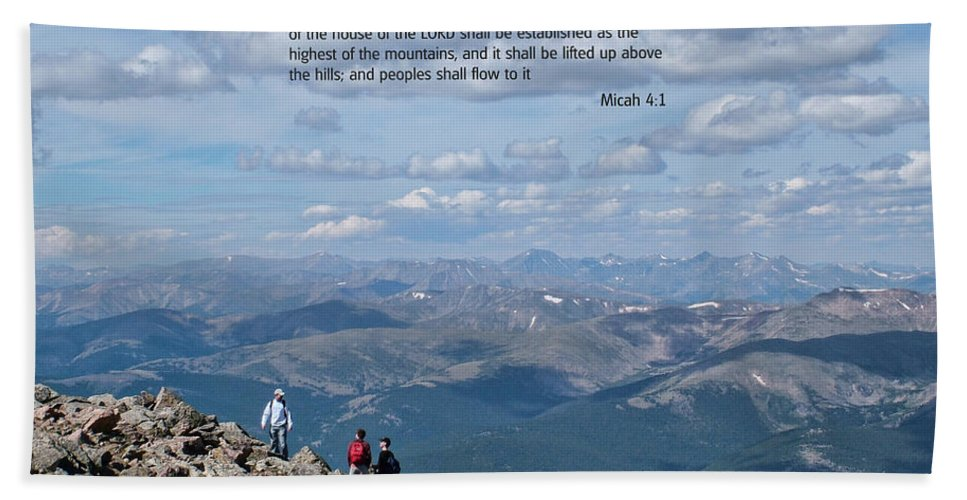 Scriptures Beach Towel featuring the photograph Scripture And Picture Micah 4 1 by Ken Smith