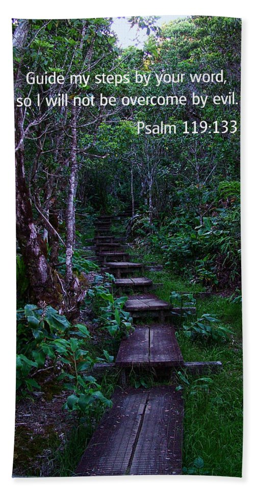 Bible Verses With Pictures Beach Towel featuring the photograph Scriture And Picture Psalm 119 133 by Ken Smith