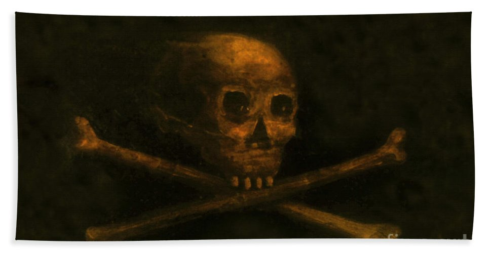 Scull And Crossbones Beach Towel featuring the painting Scull And Crossbones by David Lee Thompson