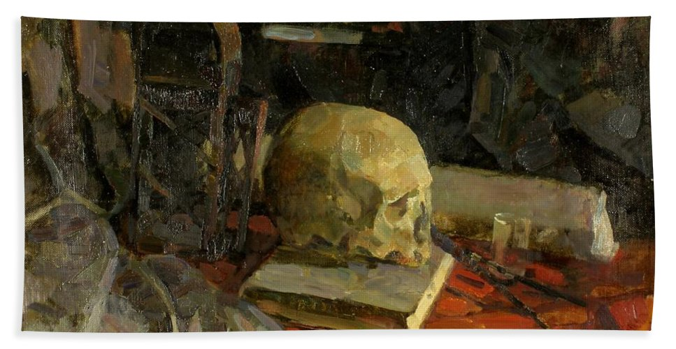 Skull Beach Towel featuring the painting Scull by Robert Nizamov
