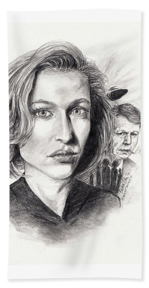 Scully Beach Towel featuring the drawing Scully by Emma Olsen