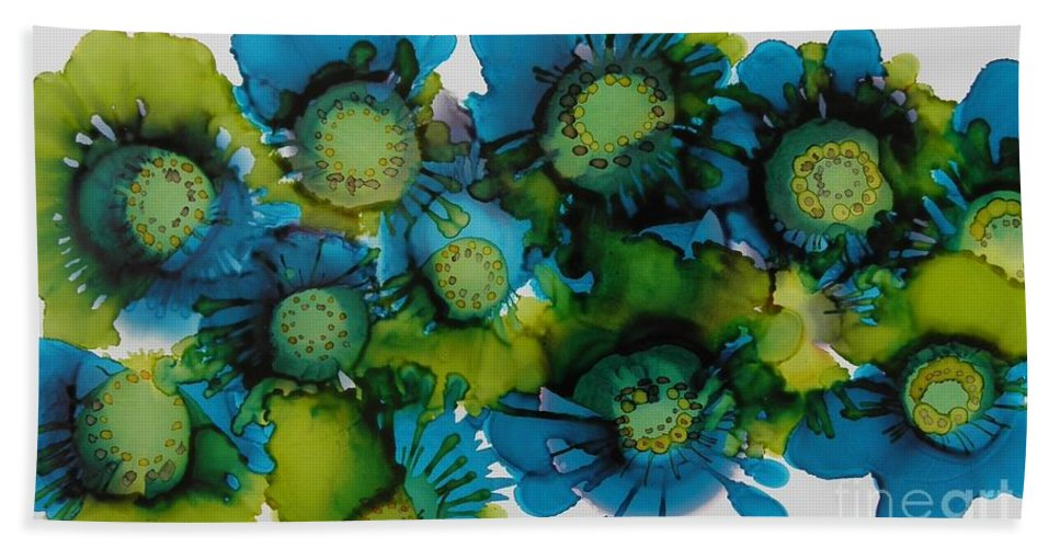 Alcohol Ink Beach Towel featuring the painting Sea Blooms by Beth Kluth