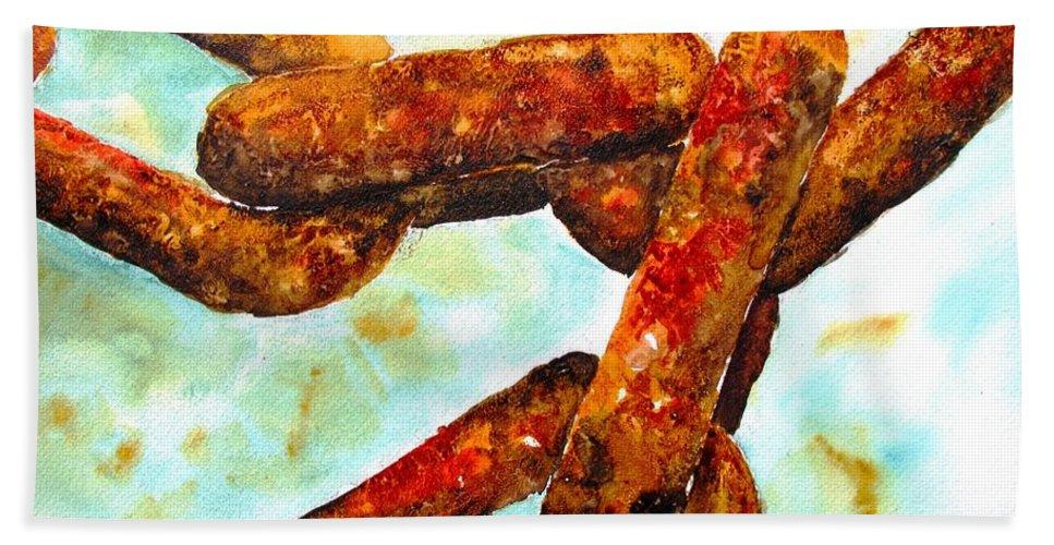 Chain Beach Towel featuring the painting Sea Chain by Carlin Blahnik CarlinArtWatercolor