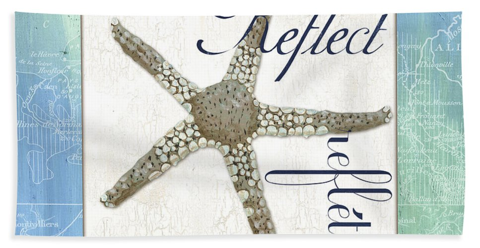 Starfish Beach Towel featuring the painting Sea Glass 3 by Debbie DeWitt