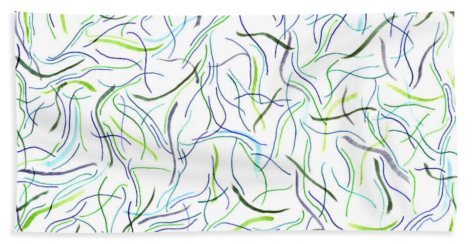 Mazes Beach Towel featuring the drawing Sea Life by Steven Natanson