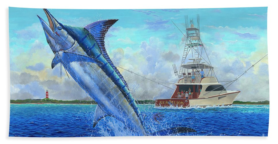 Marlin Beach Towel featuring the painting Sea Lion by Carey Chen