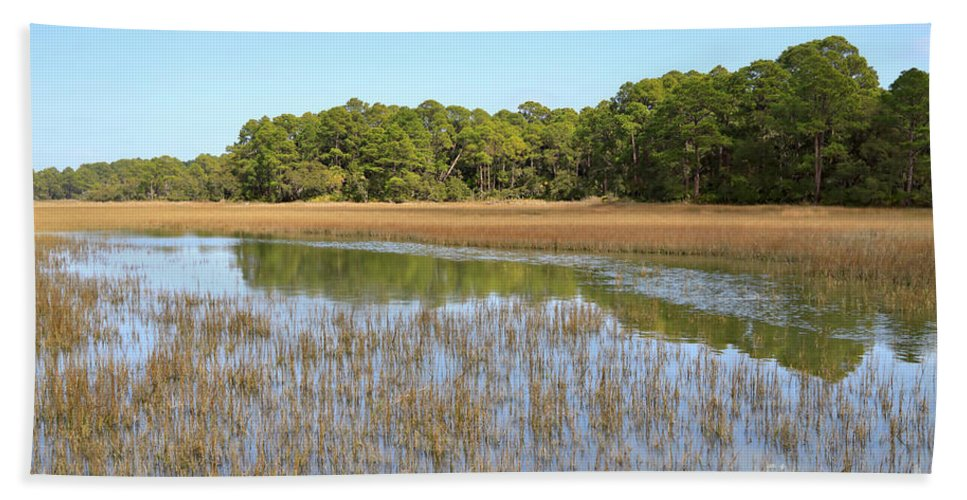 Marsh Beach Towel featuring the photograph Sea Marsh by Louise Heusinkveld