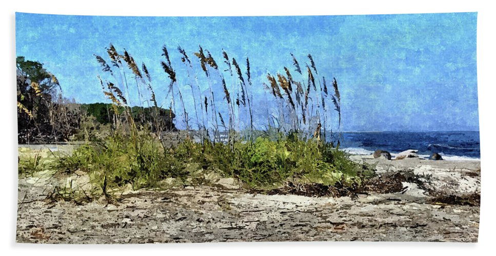 Sea Oats Beach Towel featuring the photograph Sea Oats And Coastline by John Trommer