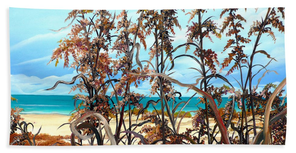 Ocean Painting Sea Oats Painting Beach Painting Seascape Painting Beach Painting Florida Painting Greeting Card Painting Beach Sheet featuring the painting Sea Oats by Karin Dawn Kelshall- Best