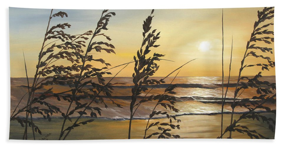 Nature Beach Towel featuring the painting Sea Oats Silhouette At Sunset by Johanna Lerwick
