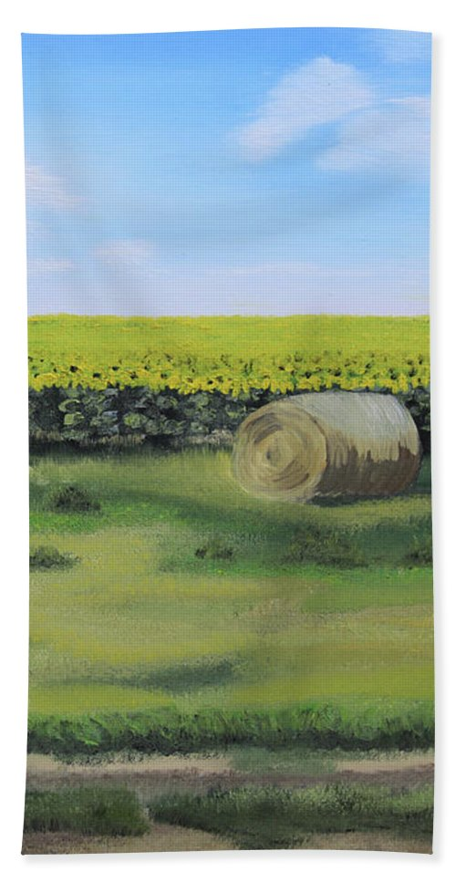 Landscape Beach Towel featuring the painting Sea Of Sunflowers by Kelly Korver