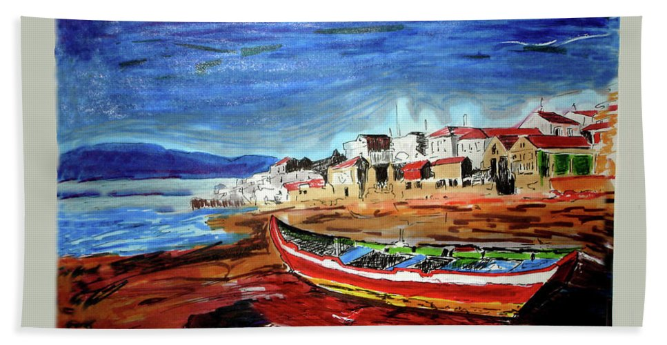 Boat Beach Towel featuring the painting Sea Scape by Johnee Fullerton