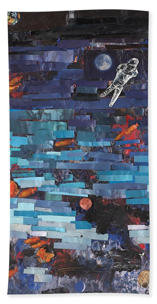 Astronaut Beach Towel featuring the mixed media Sea Space by Jaime Becker