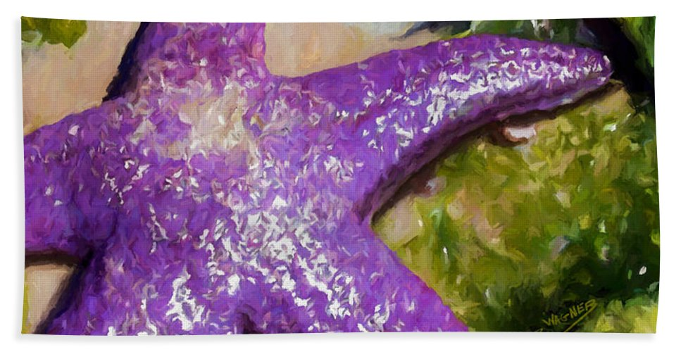 Sea Stars Beach Towel featuring the painting Sea Stars by David Wagner