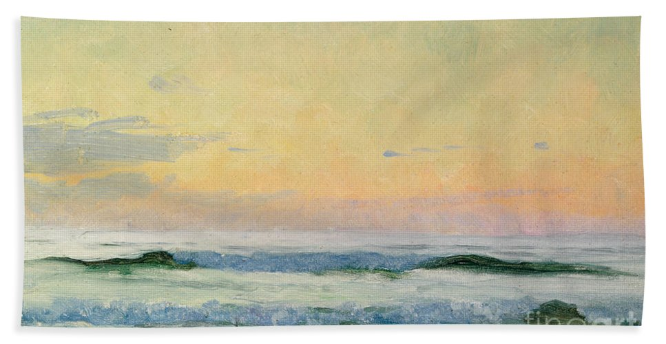 Seascape Beach Towel featuring the painting Sea Study by AS Stokes
