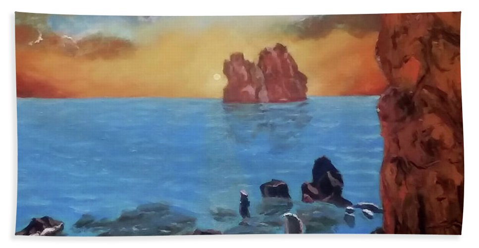 Sea Beach Towel featuring the painting Sea Sunset by Stan Hamilton