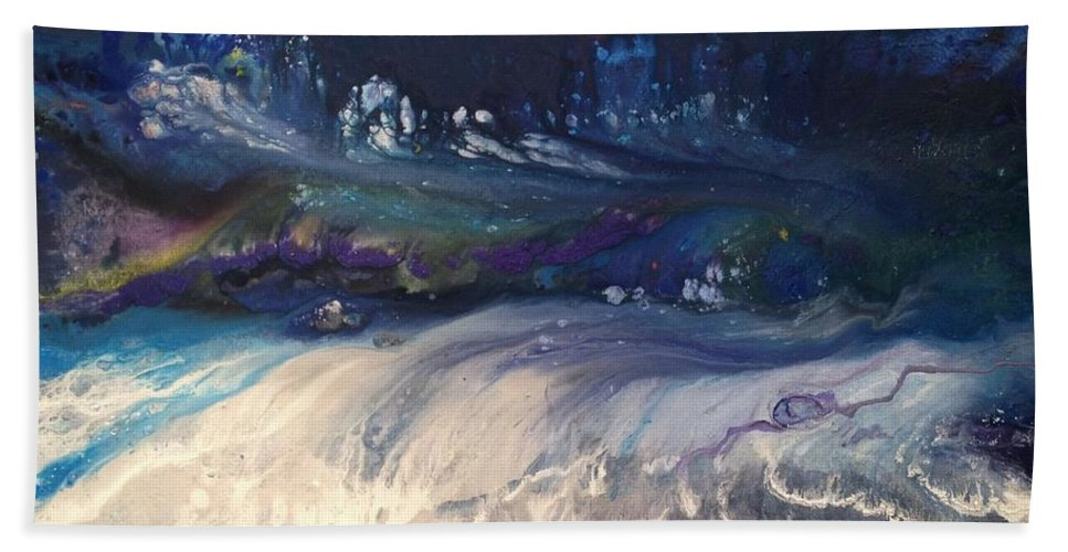 Sea Turbulence. Large Abstract Acrylic Painting On Canvas Depicts Crashing Waves At Night In Deep Beach Towel featuring the painting Sea Turbulence by Ivy Stevens-Gupta