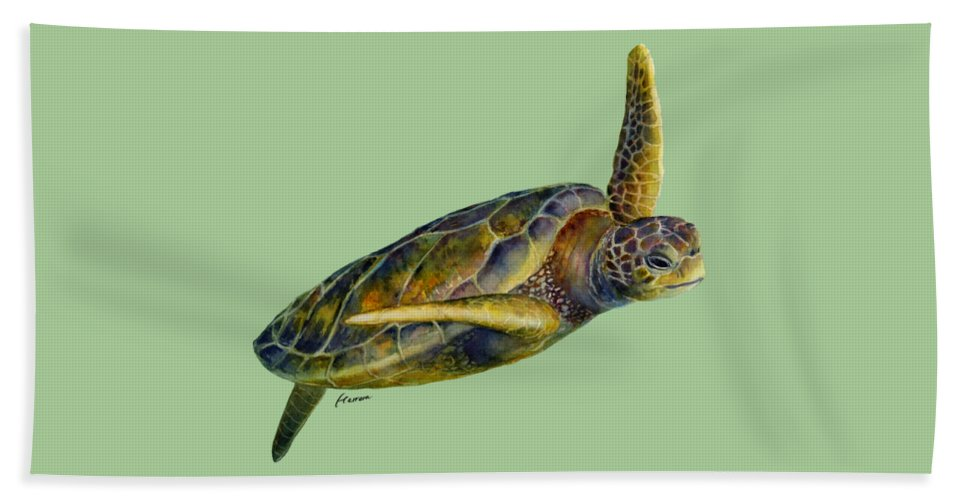 Underwater Beach Towel featuring the painting Sea Turtle 2 by Hailey E Herrera