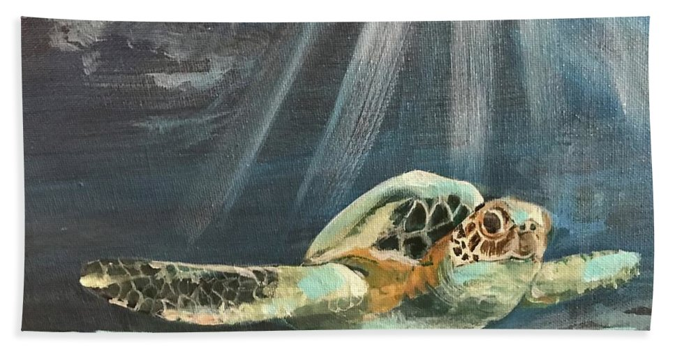 Sea Turtle Beach Towel featuring the painting Sea Turtle by Janet Easley