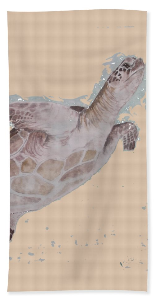 Sea Beach Towel featuring the painting Sea Turtle by Kathy Carothers