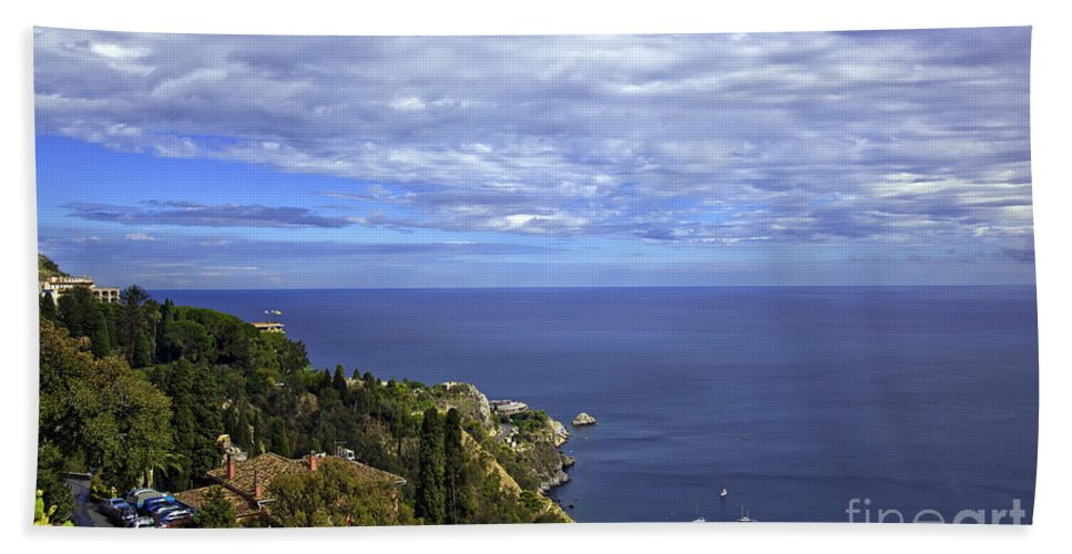 Landscape Beach Towel featuring the photograph Sea View From Taormina by Madeline Ellis