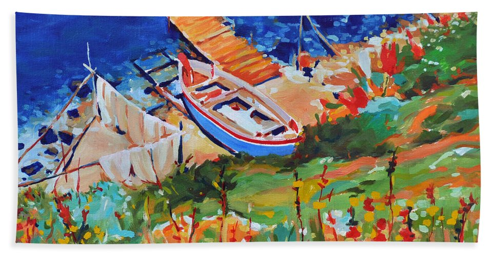 Seascape Beach Towel featuring the painting Seacoast by Iliyan Bozhanov
