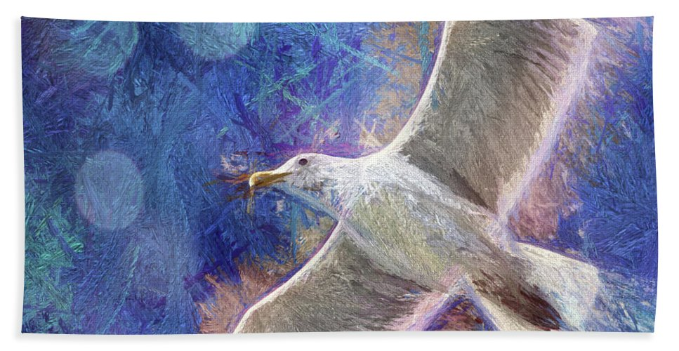 Seagull Beach Towel featuring the photograph Seagull Against Blue Abstract by Peggy Collins
