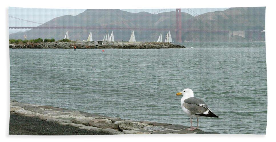 Golden Gate Bridge Beach Towel featuring the photograph Seagull And Golden Gate Bridge by Masha Batkova