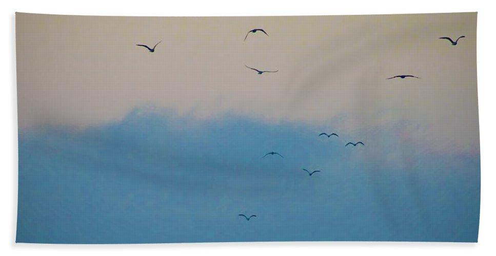 Seagulls Beach Towel featuring the photograph Seagulls Aloft by Bill Cannon
