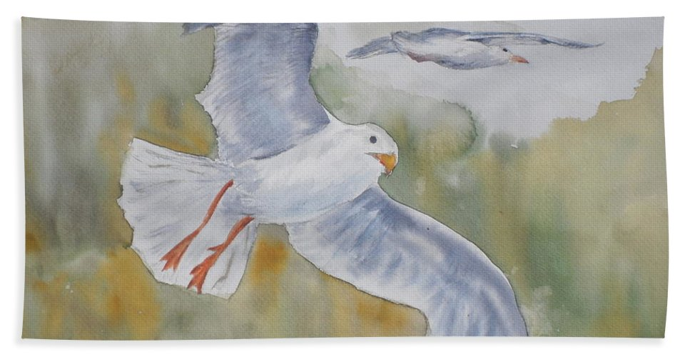 Souring Beach Towel featuring the painting Seagulls Over Glacier Bay by Vicki Housel
