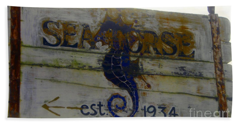 Seahorse Beach Towel featuring the painting Seahorse Est. 1934 by David Lee Thompson