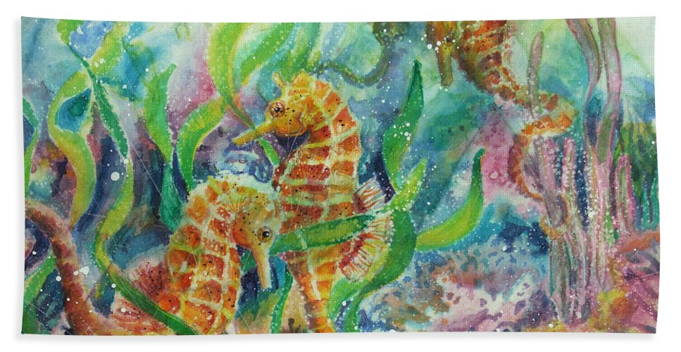 Seahorse Beach Towel featuring the painting Seahorses Three by Deborah Younglao