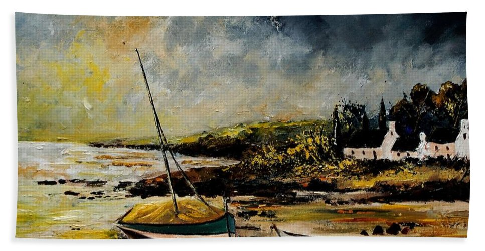 Sea Beach Sheet featuring the painting Seascape 452654 by Pol Ledent