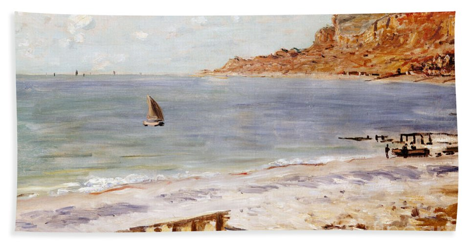 Seascape At Sainte-adresse (oil On Canvas) By Claude Monet (1840-1926) Beach Towel featuring the painting Seascape At Sainte Adresse by Claude Monet