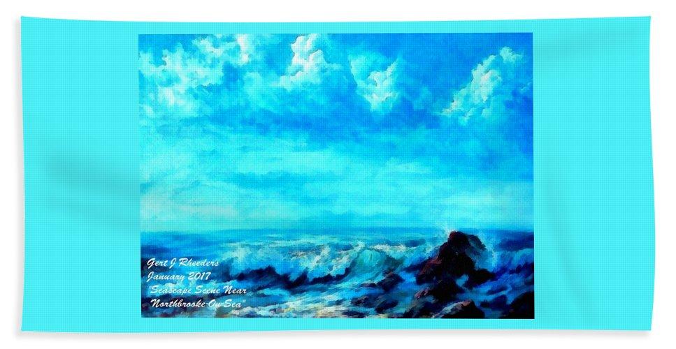 Sea Beach Towel featuring the painting Seascape Scene Near Northbrooke-on-sea L A by Gert J Rheeders