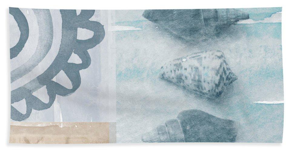 Beach Beach Towel featuring the painting Seashells by Linda Woods