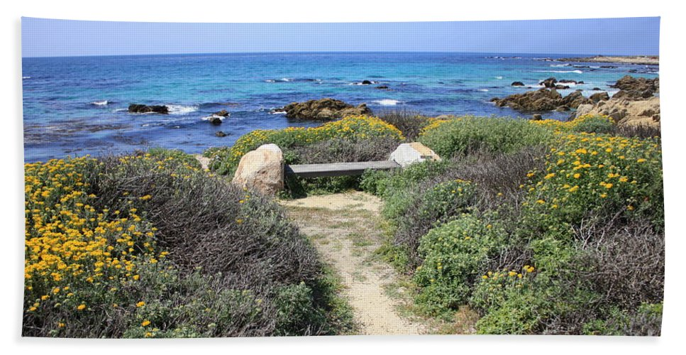 Landscape Beach Sheet featuring the photograph Seaside Bench by Carol Groenen