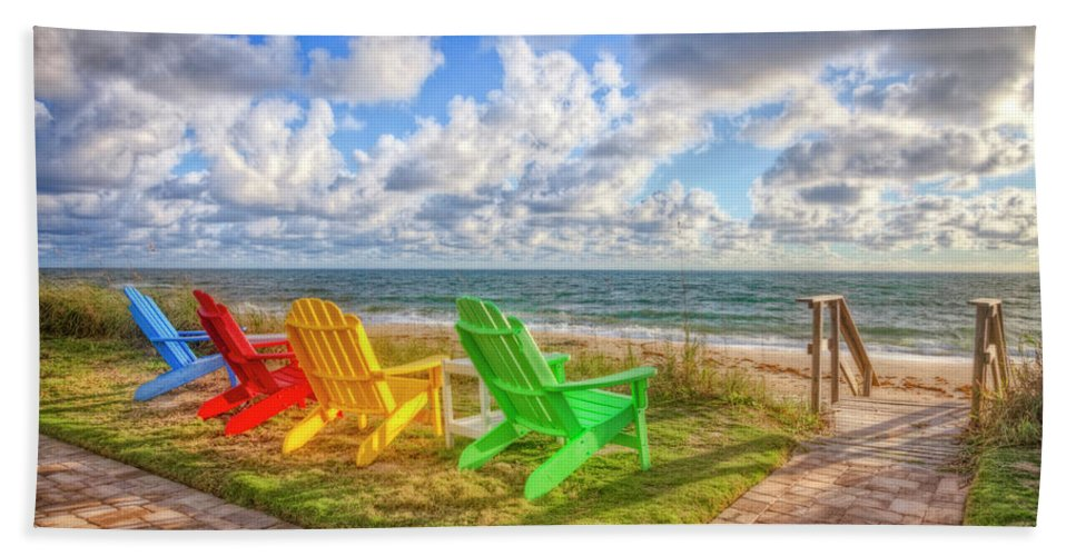 Clouds Beach Towel featuring the photograph Seaside Invitation by Debra and Dave Vanderlaan