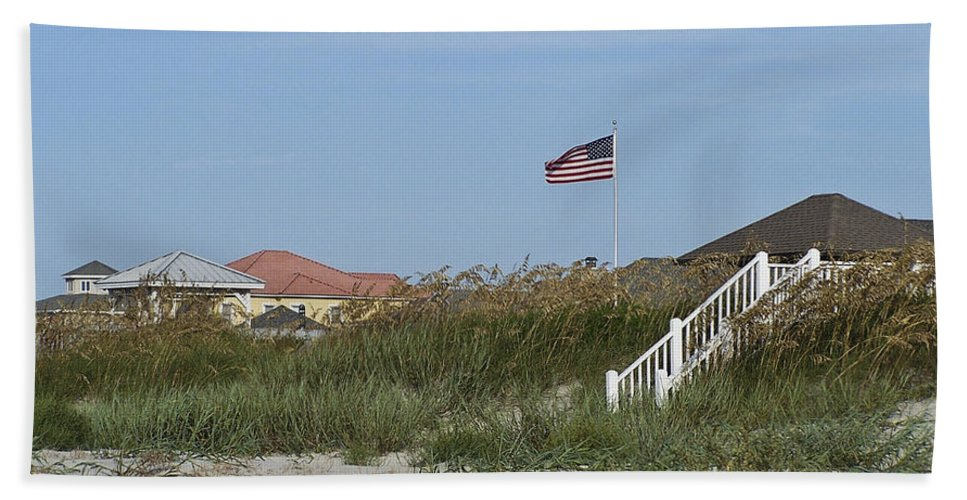 Ocean Beach Towel featuring the photograph Seaside Patriotism by Teresa Mucha