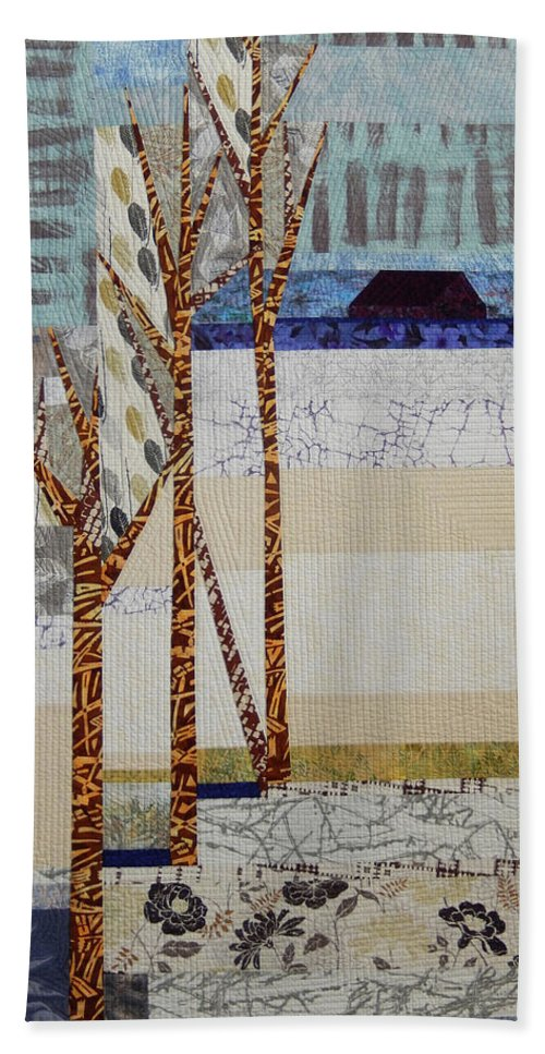 Landscape Beach Towel featuring the tapestry - textile Seasonal Remembrance by Linda Beach