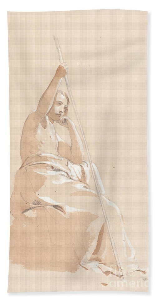 Beach Towel featuring the drawing Seated Youth With A Staff by William Etty