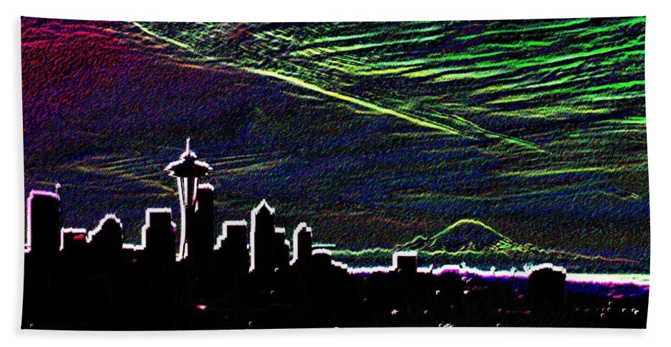 Seattle Beach Towel featuring the digital art Seattle And Da Mountain by Tim Allen