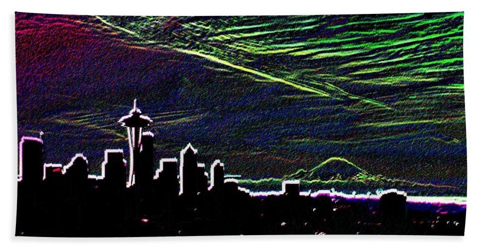 Seattle Beach Sheet featuring the digital art Seattle And Da Mountain by Tim Allen