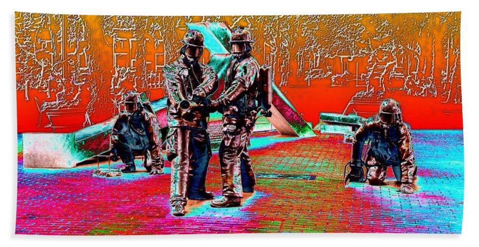 Seattle Beach Towel featuring the digital art Seattle Fire Fighter Memorial by Tim Allen