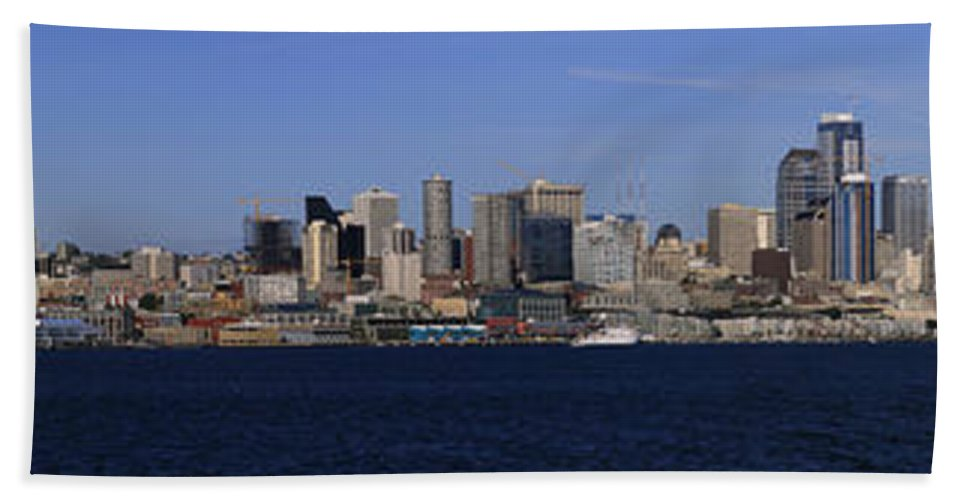 3scape Beach Towel featuring the photograph Seattle Panoramic by Adam Romanowicz