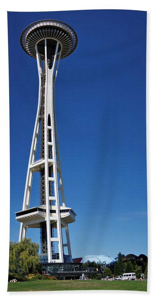 3scape Beach Towel featuring the photograph Seattle Space Needle by Adam Romanowicz