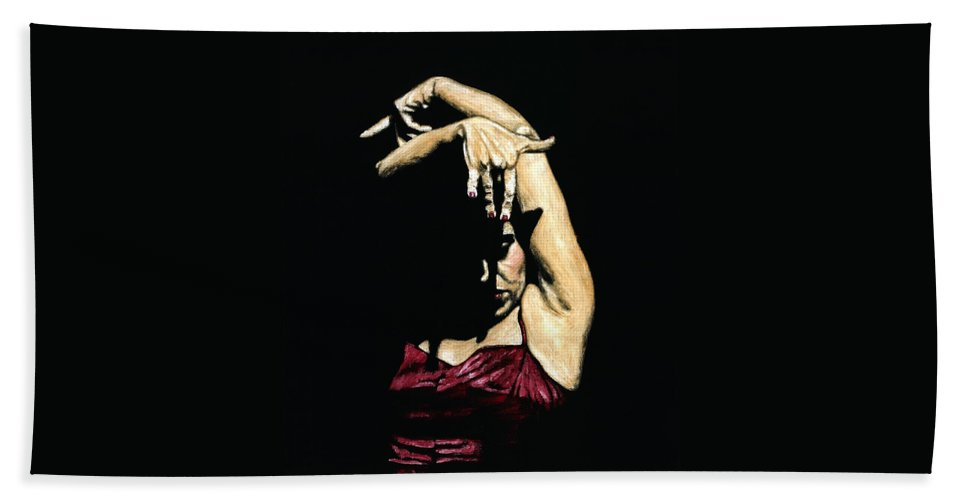 Flamenco Beach Towel featuring the painting Seclusion del Flamenco by Richard Young