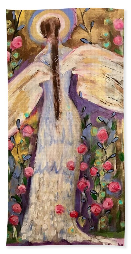 Angel Beach Towel featuring the painting Second Chance by Suzaine Smith