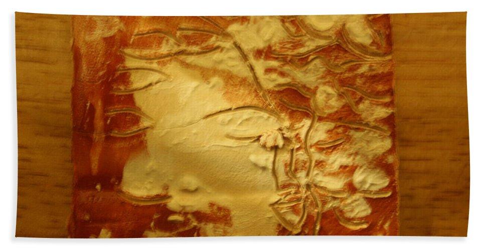 Jesus Beach Towel featuring the ceramic art Secret - Tile by Gloria Ssali